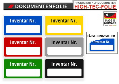 """FÄLSCHUNGSSICHER Inventaretiketten /""""Inventar-Nr./"""" Inventarnummer op rot"""