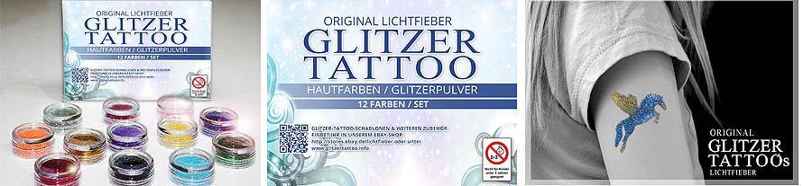 Glitzer Tattoo Farben - 12 Stück - für Glitzertattoos Glittertattoos
