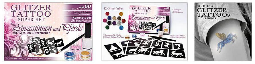 Glitter Tattoo Komplettset mit Schablonen Motiven und Kleber