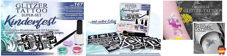 Glitter Tattoo Complete Set XXL for Kids Celebrations Kindergartens with Many Kids. Including 167 Glitter - Stencils / templates