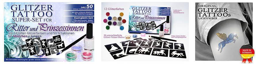 Glitter Tattoo Komplettset für Jungen und Mädchen
