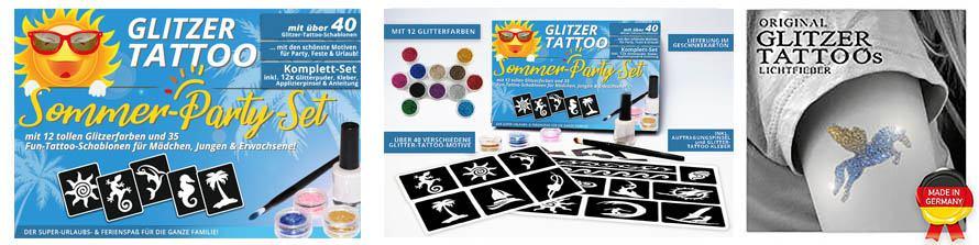 Glitter Tattoo Komplettset für Ferien, Party, Urlaub und Geburtstage
