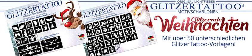 Glitzertattoo Schablonen Weihnachten / Glitter Tattoo stencils christmas