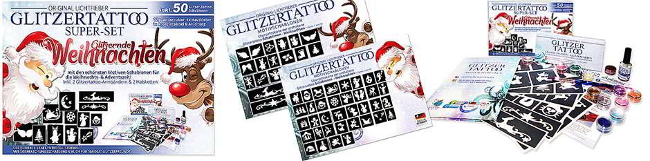 Weihnachten  Glitzertattoo Schablonen Glittertattoo Stencils Weihnachtsfeier Glitzer Tattoos Schablonen Motive Advent