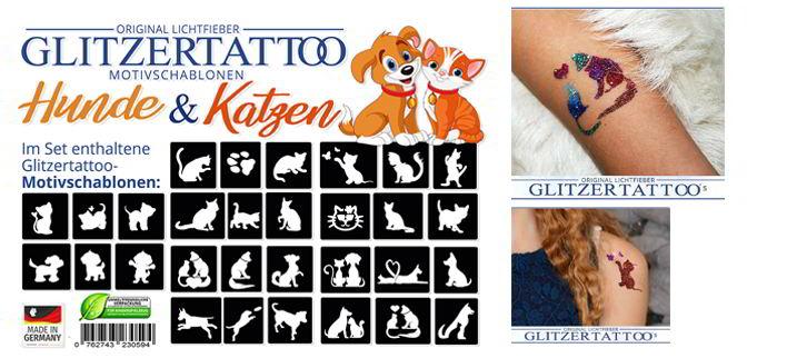 Glitzertattoos mit den schönesten Motiven / Schablonen mit Katzen und Hunden! Wunderschone Tiermotive!