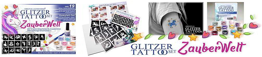 Glitter Tattoo Komplettset 'Zauberwelt mit Motiven iwe Elfen Feen Pferden Einhörnenen inkl. Glitzertattoo Schablonen und Motiven Glitzerfarben und Zubehör günstig und neu vom Hersteller