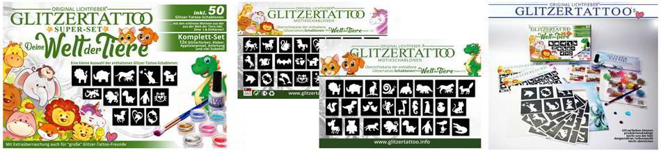 Tiere Glitzertattoo Schablonen Glittertattoo Stencils Tiere Einhörner Dinos Wildtiere Zoor Glitzer Tattoos Schablonen Motive