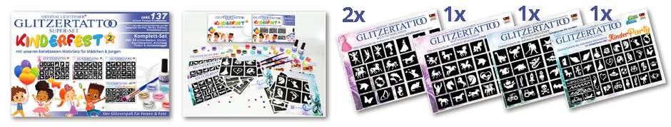 Glitzuertattoo Set / Komplettset für Mädchen und Jungen Kinderfest / Party / Feste & Feiern