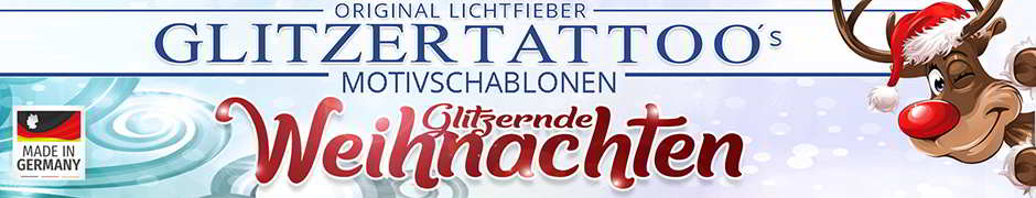 Weichnachten / Advent / Weihnachtsfeier Glitzertattoo Motive Schablonen Stencils Vorlagen